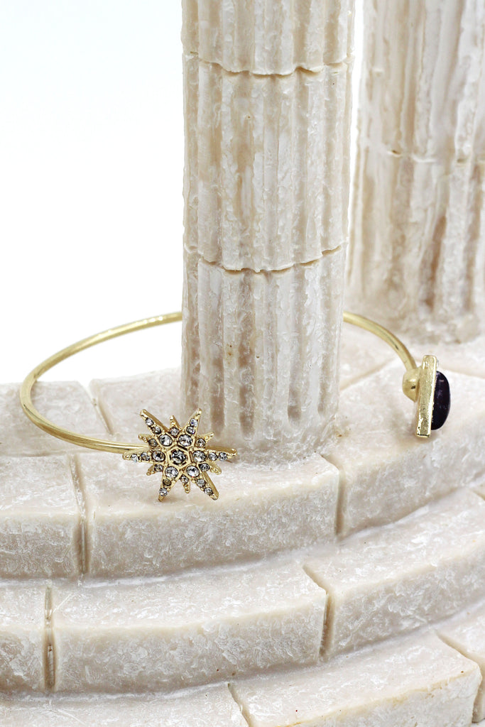 fashion inlaid crystal star bracelet earrings set