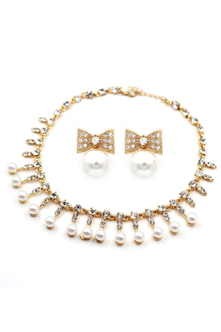 silver crystal pearl necklace earring set