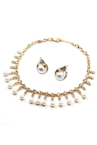 elegant small pearl earring necklace set