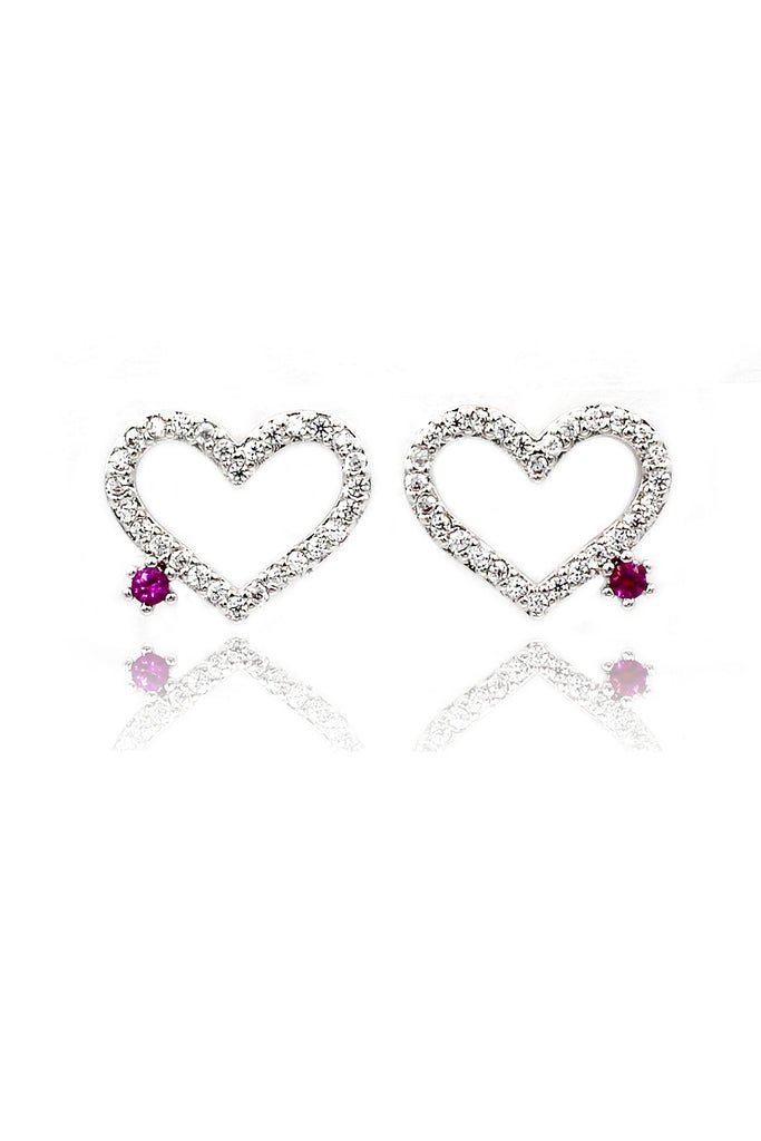 sweet heart love crystal earrings