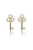 fashion mini crystal key earrings