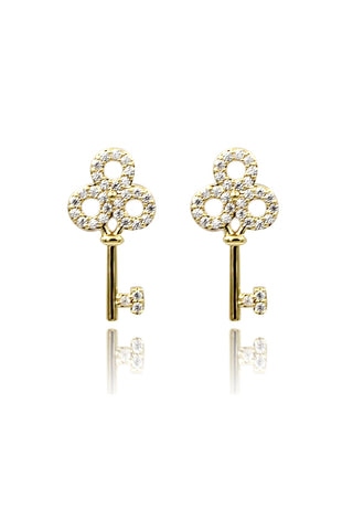 mini crown and pendant crystal earrings