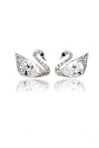 temperament wild little swan crystal earrings