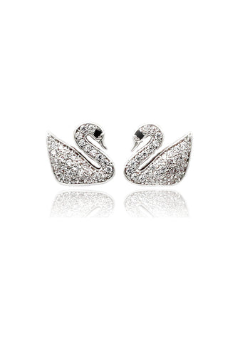 fashion shiny swan crystal earrings