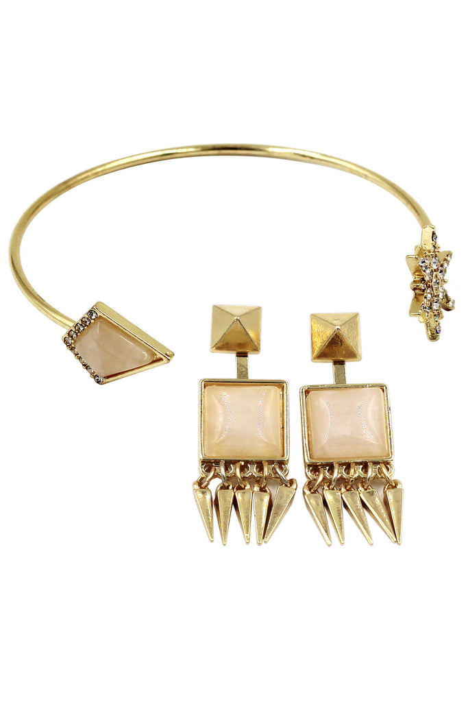 fashion inlaid crystal bracelet earrings golden sets