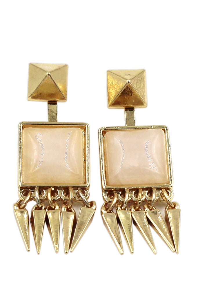 square crystal golden earrings
