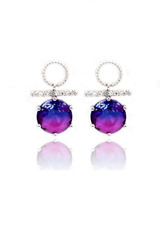 flashing crystal flower earrings