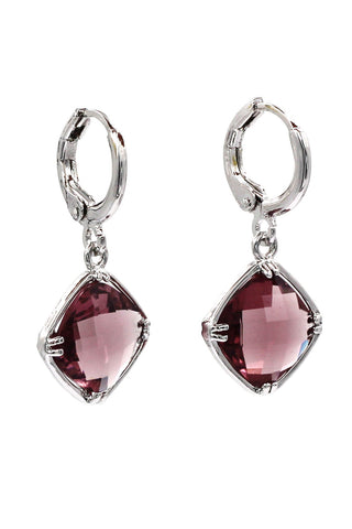 Simple square crystal earrings