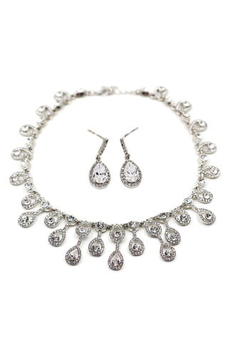 elegant necklace earrings crystal set