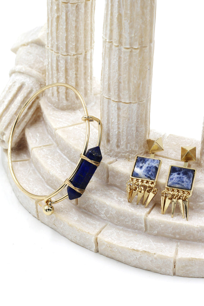 fashion prism golden bracelet earrings set