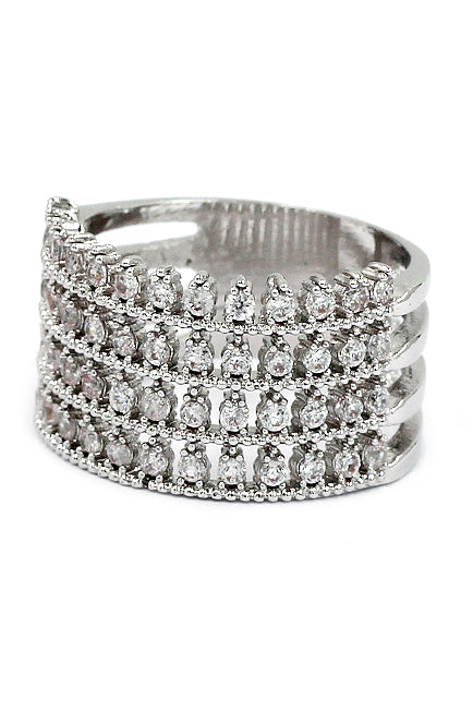 luxury inlaid small crystal silver ring