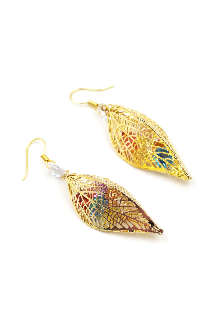 Leaves little Crystal Earrings