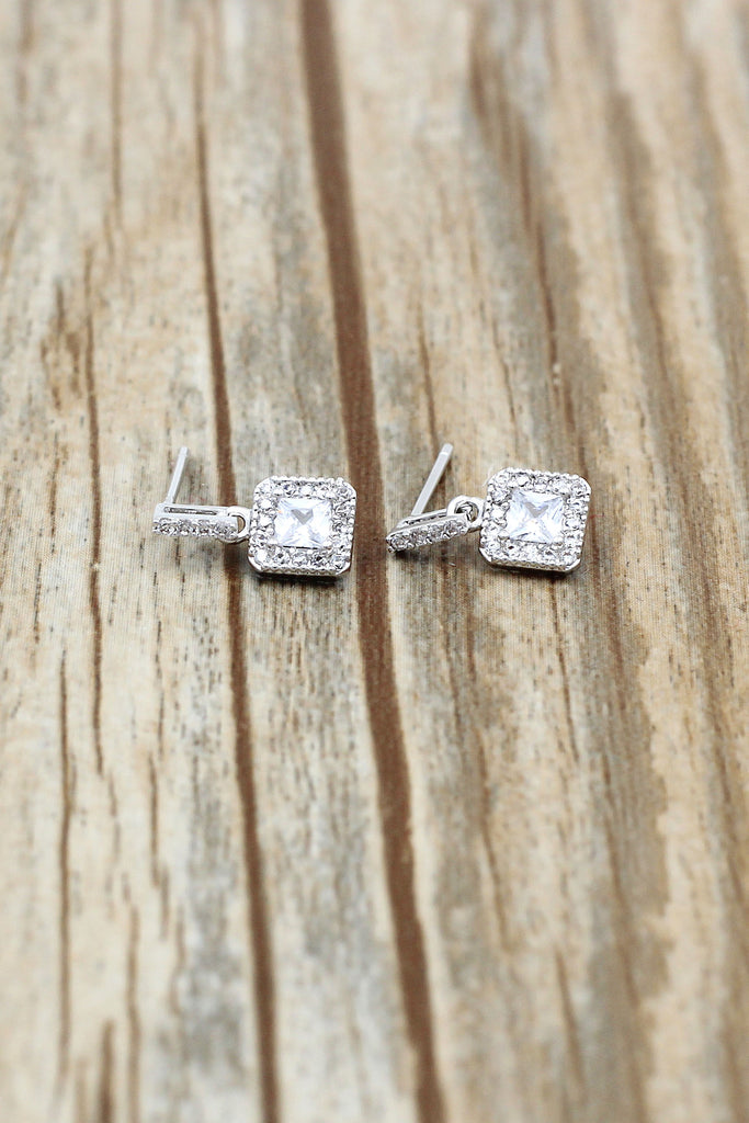 mini square crystal earrings