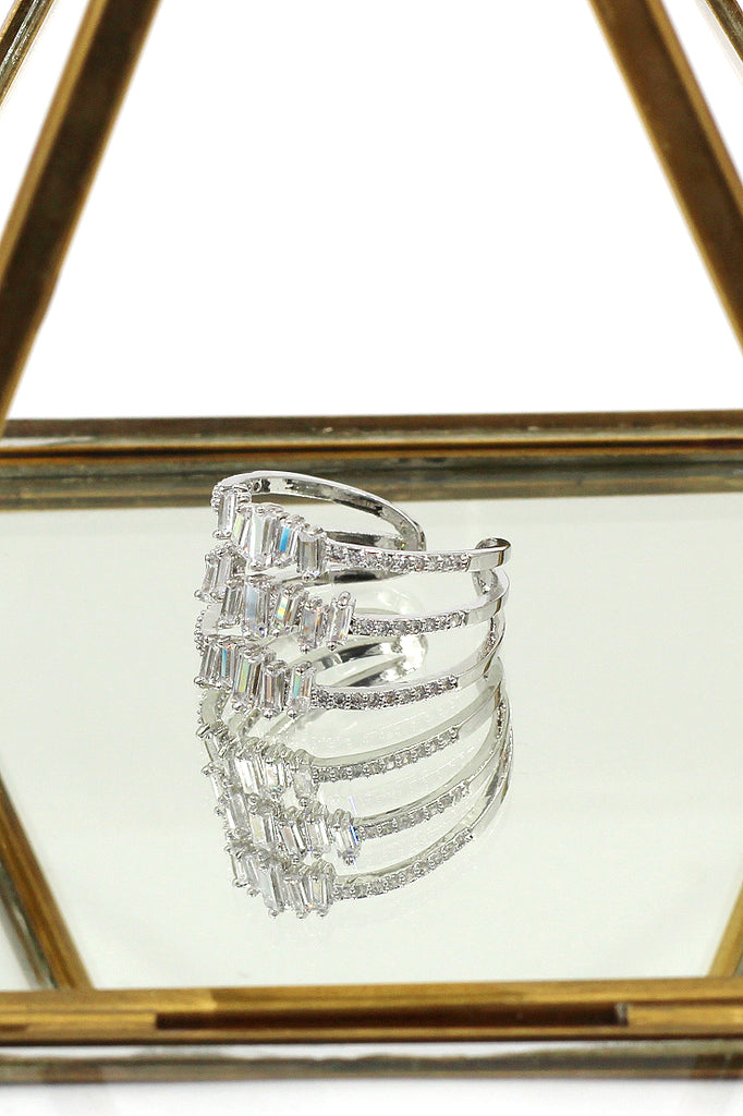 three layers of sparkling crystal ring