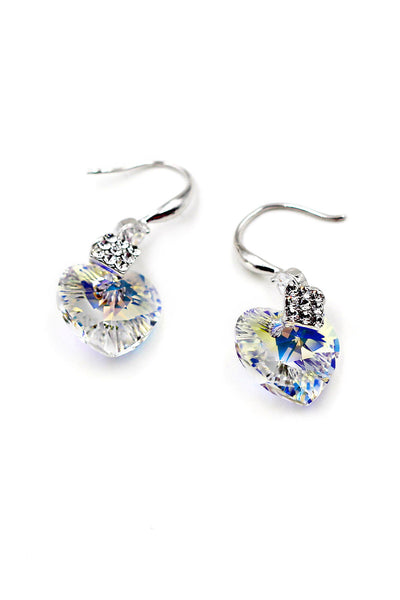Love shape shiny Crystal Earrings