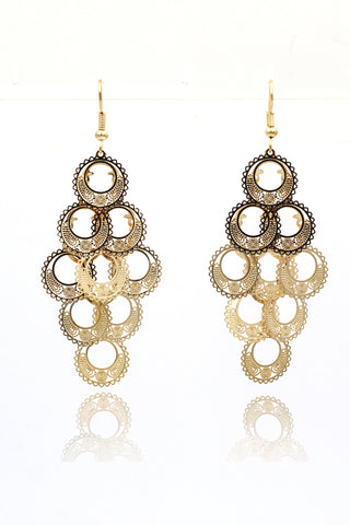 shining golden pendant crystal earrings