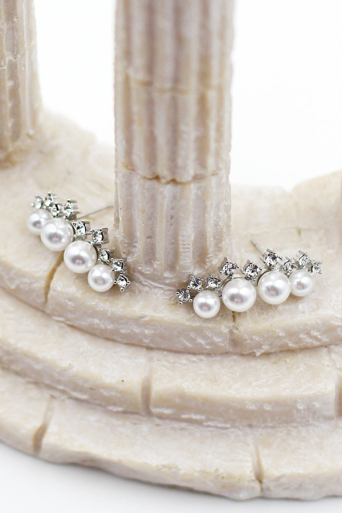 Pearls silver Crystal Earrings