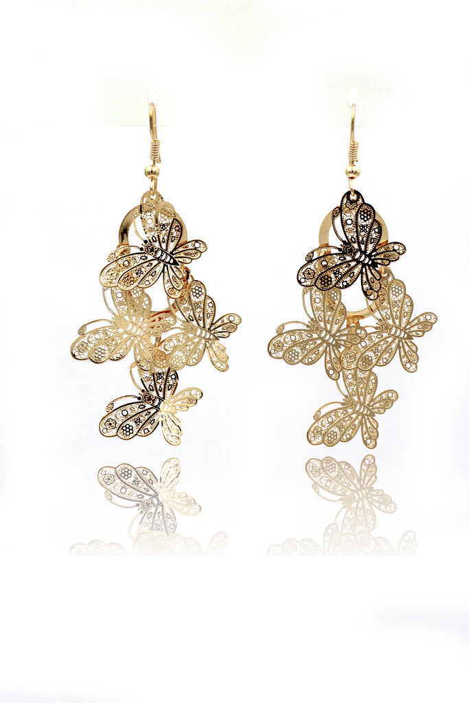 elegant long butterfly earrings