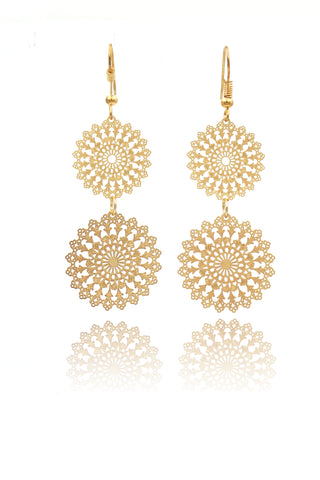 golden mini cross crystal earrings
