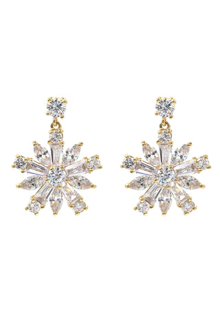 elegant oval diamond bowknot gold earrings