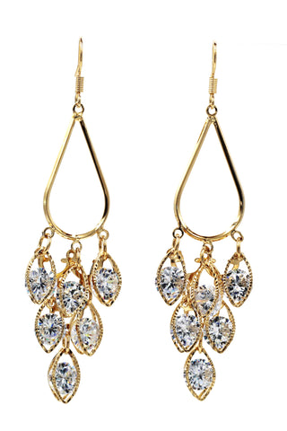 Simple gold crystal earrings