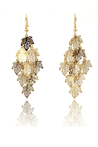 Gold leaves spiral crystal earrings