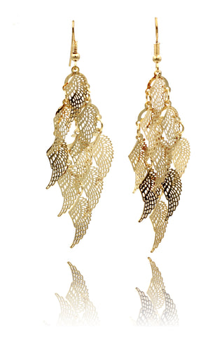 long small leaf earrings