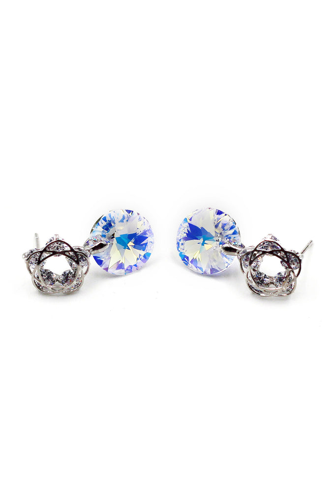 Shiny beautiful flowers crystal earrings