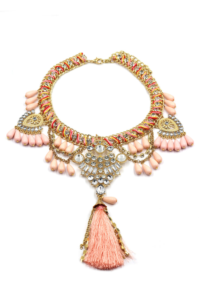 colorful tassel national crystal and beads necklace