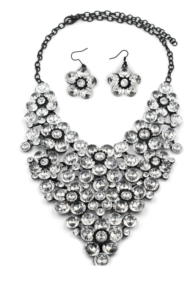colorful crystal flowers necklace sets
