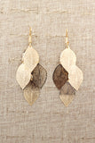 elegant long large leaf earrings