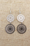 hollow big round flower earrings