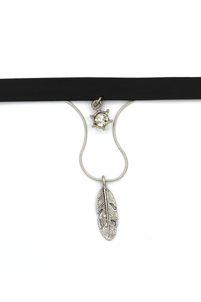 fashion double-chain feather pendant choker