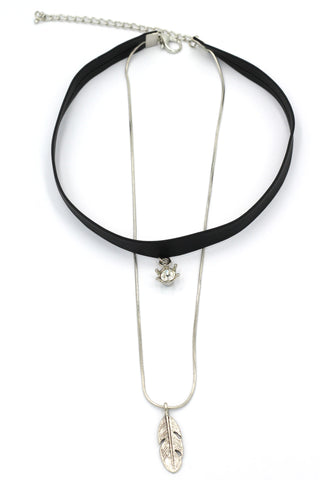fashion double-chain pendant two crystal choker