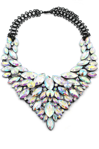 colorful crystal golden necklace