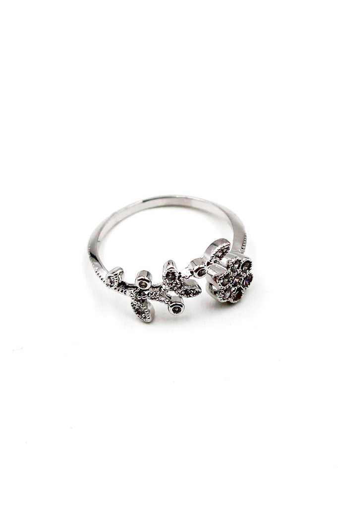 Leaves and flower small Crystal Ring