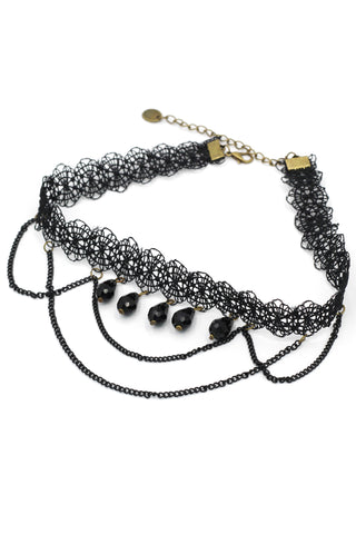 fashion braided drop pendant choker