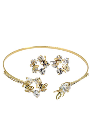 golden crystal earring bracelet set
