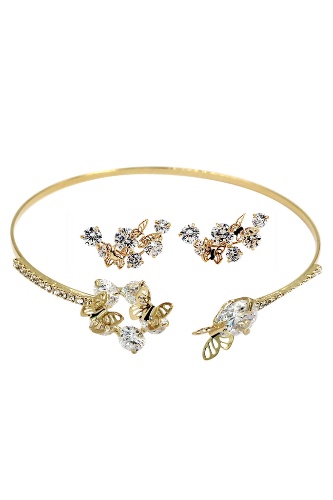 golden mini butterfly earrings bracelet set