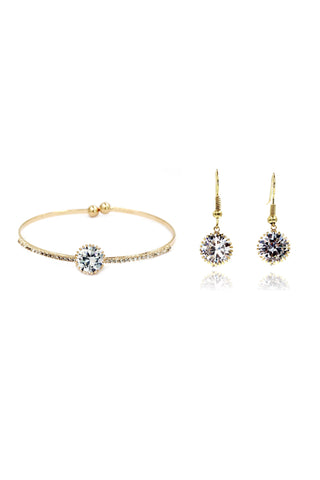 double chain crystal pearl earring set