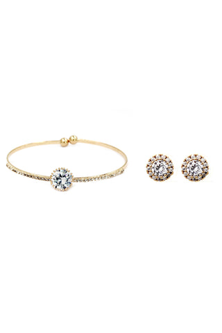 shiny crystal bracelet golden earring set