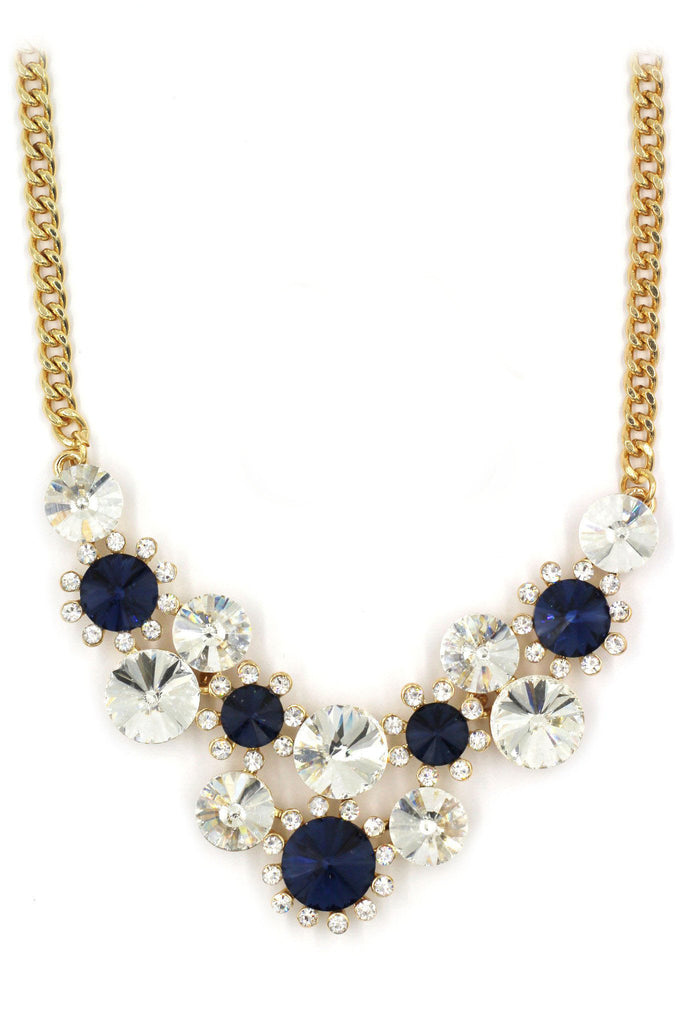 fashion circle crystal golden necklace