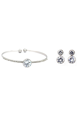 shiny crystal bracelet pendant earring set