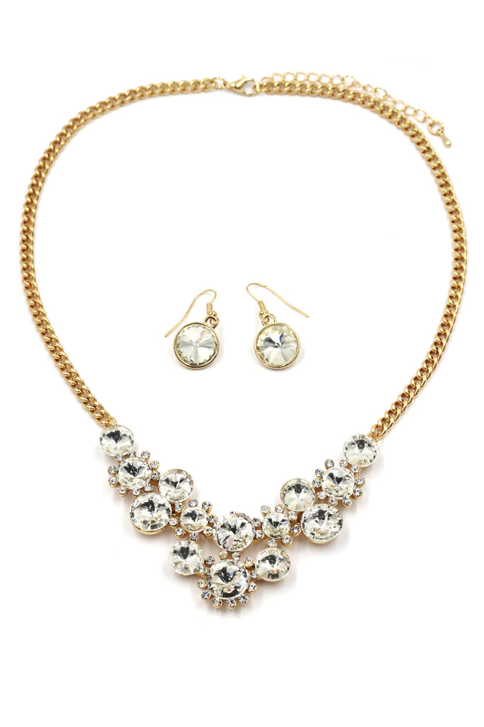fashion circle crystal golden necklace earrings sets