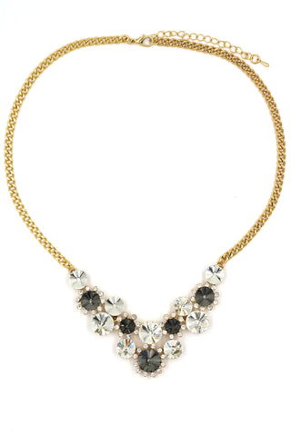 lady cricle crystal silver necklace
