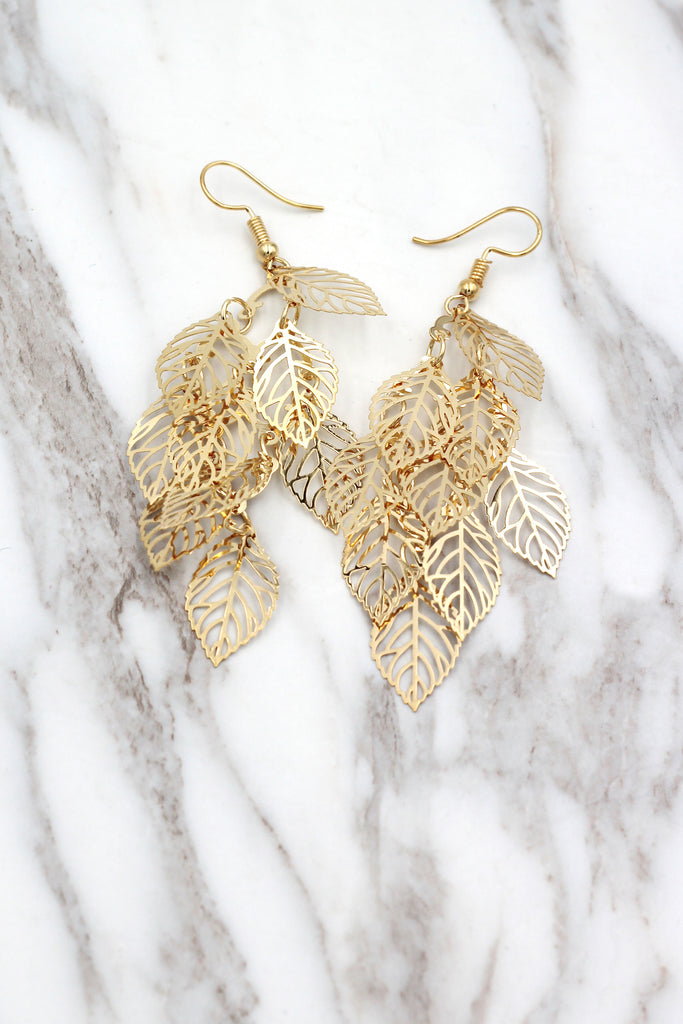 hollowed multi-layer leaf earrings
