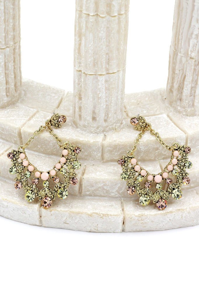elegant crystal pendant gold earrings