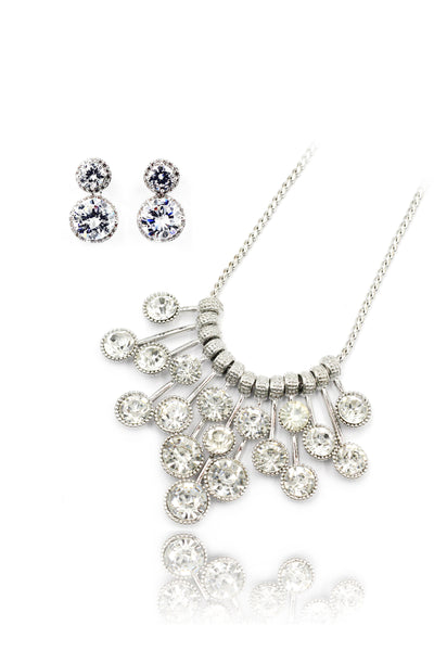 elegant noble crystal earrings necklace set