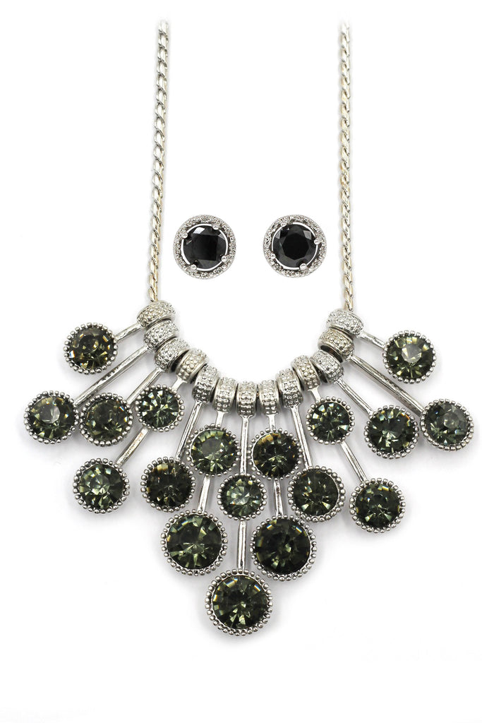 frosted metal ball trend necklace earrings set