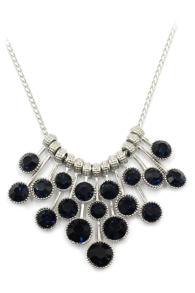 fashion pendant silver circle crystal necklace